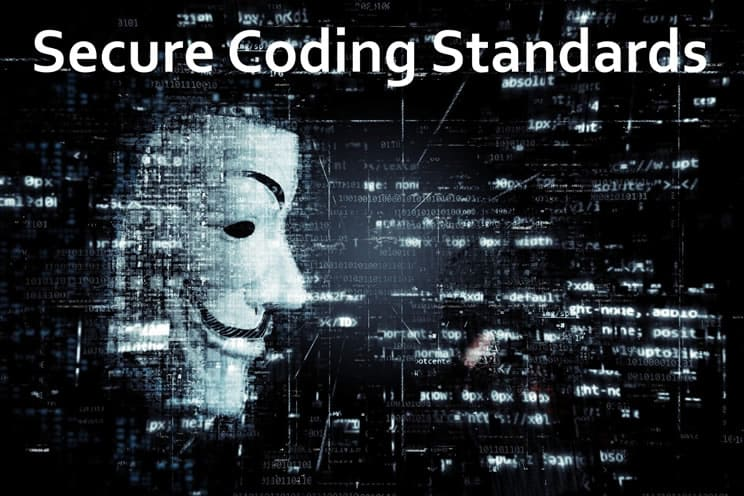 Hacktivist mask with images of software code in background
